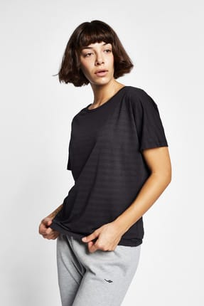 Lescon Kadın Siyah Kısa Kollu T-shirt - 19Y-2171 - 19YTBS002171-633