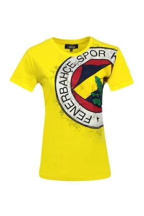 Fenerbahçe Beyaz Bayan T-Shirt Kadın Trıbun Yarım Logo T-Shirt-A-001-0-34