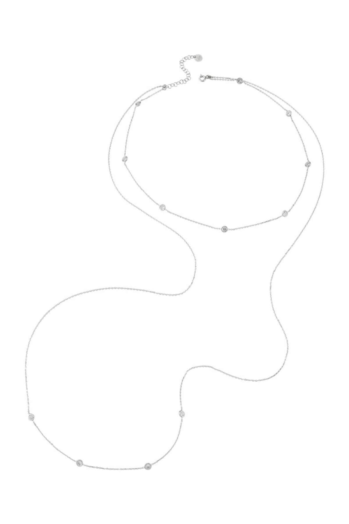 BENDİS Kadın Gümüş İkili Taşlı Kolye C530 1