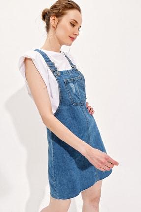 Trend Alaçatı Stili Kadın Mavi Askılı Cepli Jean Salopet ALC-X6193