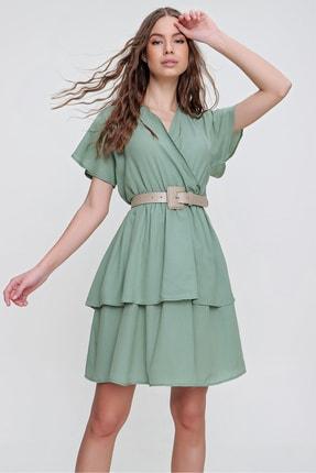 Trend Alaçatı Stili Kadın Mint Kruvaze Kat Kat Volanlı Dokuma Elbise ALC-X6189