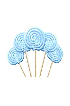 Kazanabil Küçük Yuvarlak Çubuklu Lolipop Sosyete Şekeri Mavi Beyaz 5 Adet