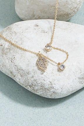 ZİNDİ Kadın Yaprak Detaylı Taşlı Zincir Kolye Altın Rengi K-3051008-415