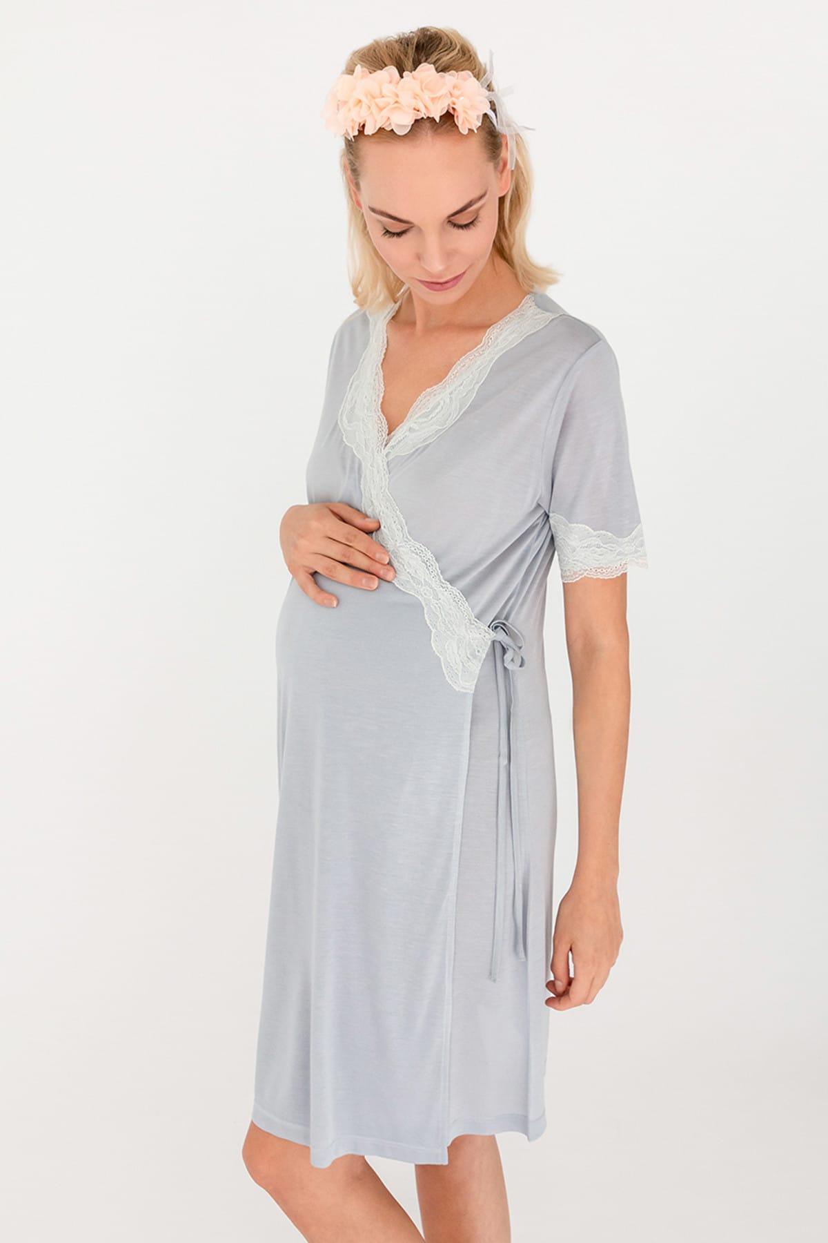 Hays Kadın Gri Mom Dantel Detaylı Kruvaze Penye Modal Gecelik 1