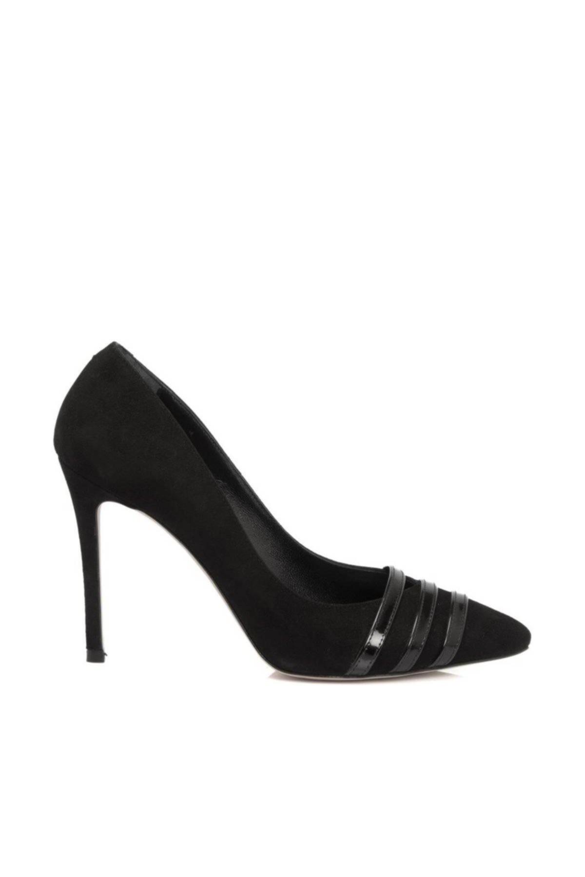 Tergan Hakiki Deri Siyah-Süet - Siyah-Rugan Kadın Klasik Ayakkabı K18S1AY64164 1