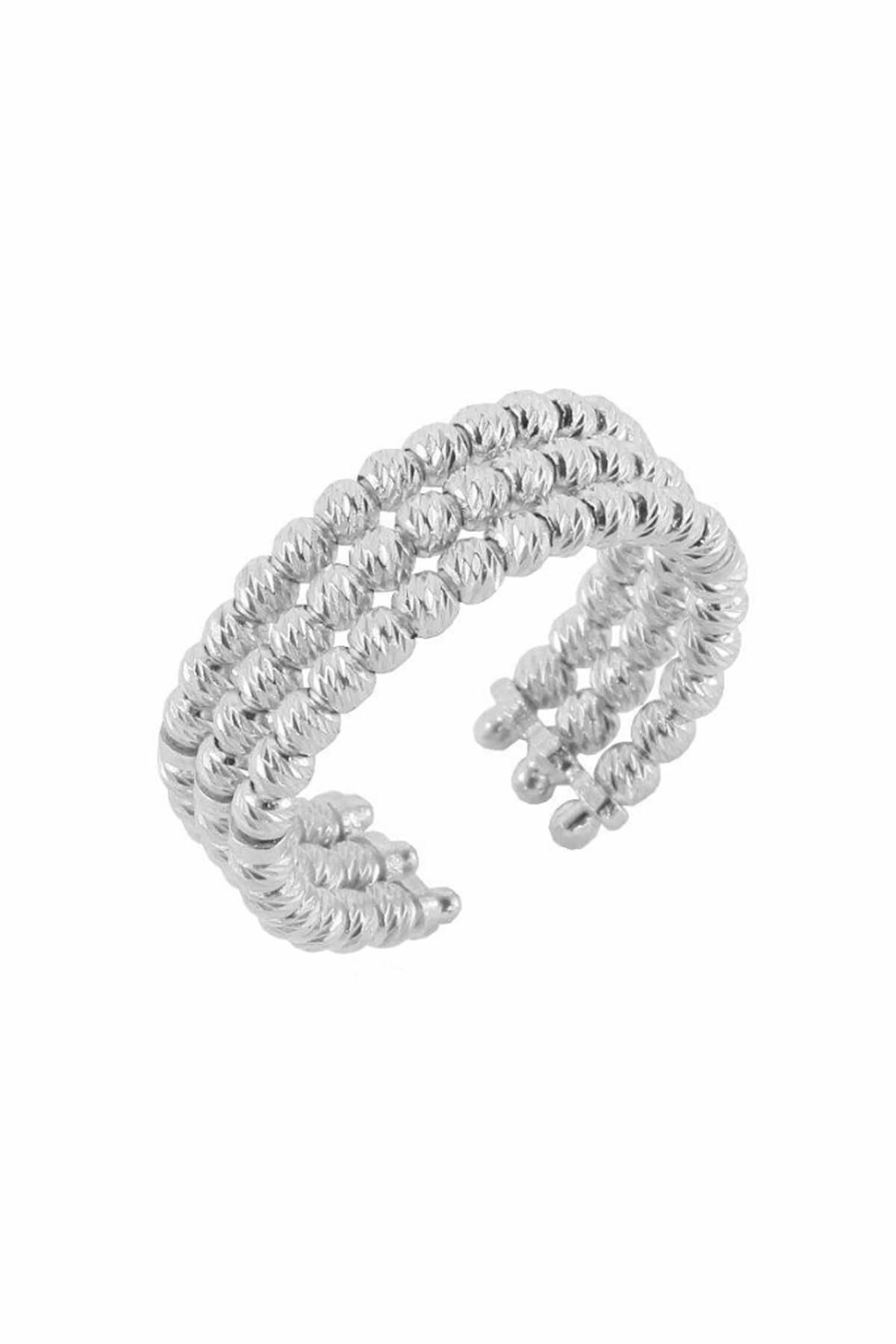 Söğütlü Silver Kadın 925 Ayar Gümüş Dorica Rodyumlu Üçlü Yüzük SGTL4508 1