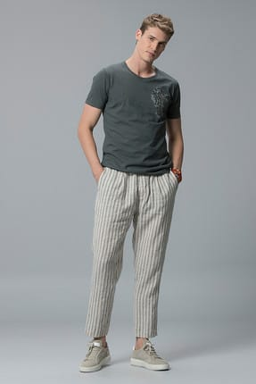Lufian Erkek Evohe Modern Grafik T- Shirt Haki 111020001100630