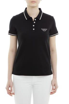 Emporio Armani Kadın Siyah Polo Yaka T-Shirt 3G2M61 2JBXZ 0999