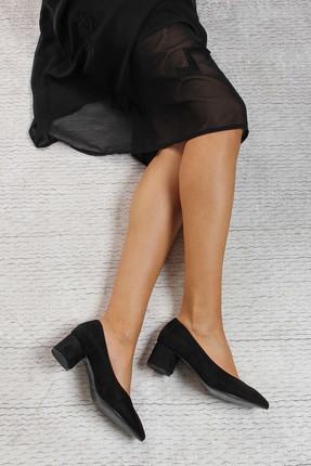 Shoes Time Siyah Süet Kadın Topuklu Ayakkabı 17K 1954
