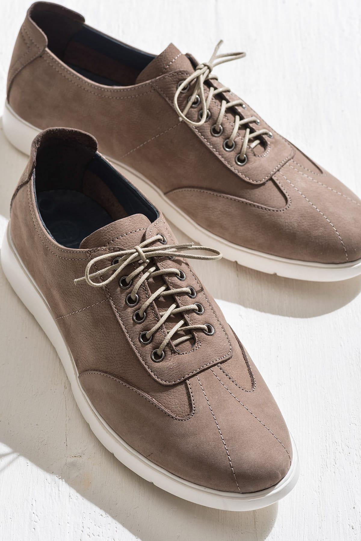 Elle Shoes ANSON Hakiki Deri Bej Erkek Ayakkabı 1