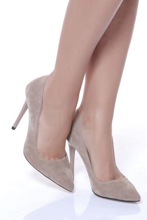Shoes Time Bej Süet Kadın Topuklu Ayakkabı 18Y 708