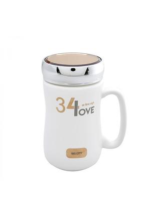 Karaca Love Beyaz Kapaklı Kahve Kupası
