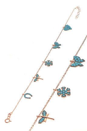 Söğütlü Silver Kadın Rose Renk Gümüş Turkuaz Taşlı Şans Bilekliği SGTL8641