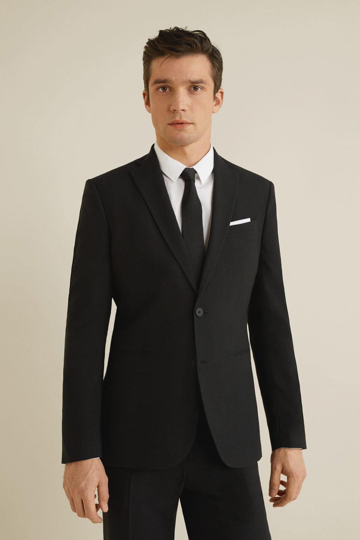 MANGO Man Erkek Siyah Dar Kesim Travel Suit Blazer Ceket 43040566 1