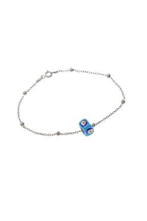 Söğütlü Silver Kadın Gümüş Mineli Turkuaz Taşlı Top Top Bileklik SGTL8519-RODAJ