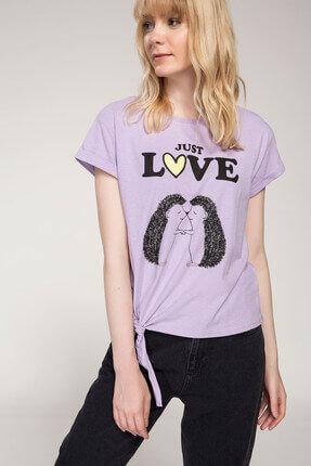 DeFacto Kadın Bağlama Detaylı Baskılı T-shirt J0376AZ.18SM.PR251