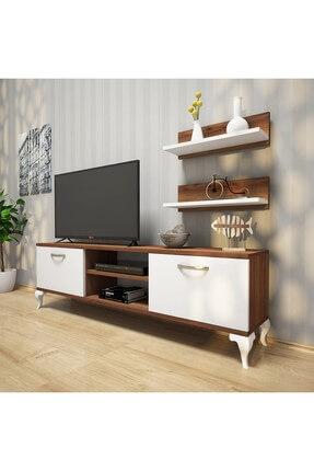 Rani Mobilya A4 Duvar Raflı Tv Sehpası - Kitaplıklı Tv Ünitesi Modern Ayaklı Tasarım Ceviz Beyaz