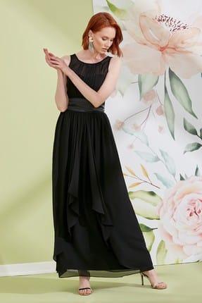Journey Kadın Siyah U Yaka Ön İnce Pile Detaylı Arka Lastik Detaylı Saten Kuşaklı Abiye Elbise 19YELB129