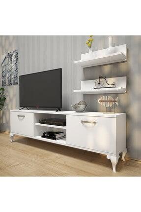 Rani Mobilya A4 Duvar Raflı Tv Sehpası - Kitaplıklı Tv Ünitesi Modern Ayaklı Tasarım Beyaz