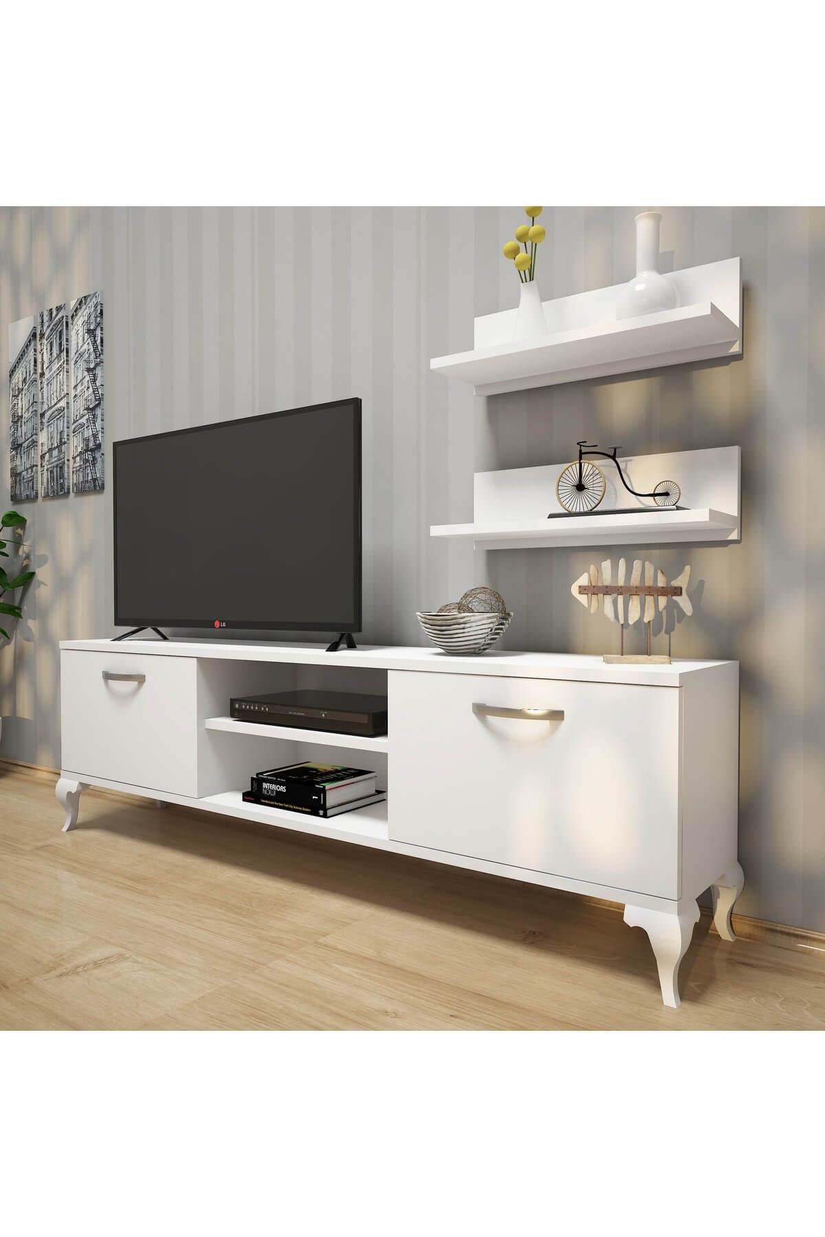 Rani Mobilya A4 Duvar Raflı Tv Sehpası - Kitaplıklı Tv Ünitesi Modern Ayaklı Tasarım Beyaz 1