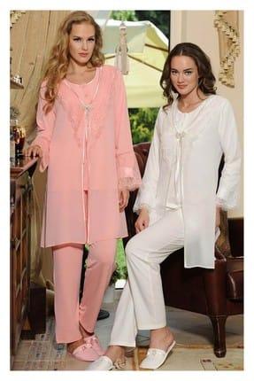 Feyza Pijama Kadın Ekru Kutulu Lizözlü Pijama Takımı