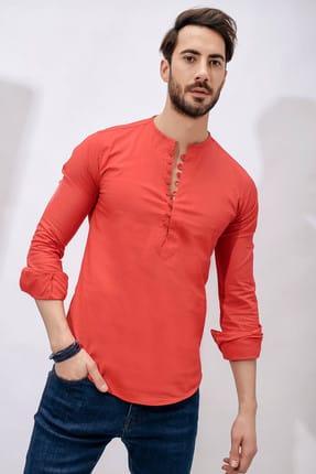 Sateen Men Erkek Kırmızı   Slimfit Yarım Patlı Gömlek - 101-0014.