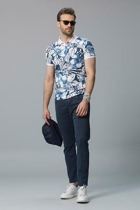 Lufian Erkek Mavi Adonis Vintage Polo T- Shirt