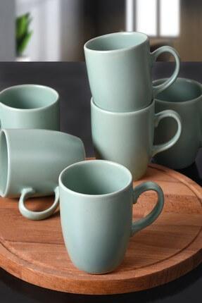 Keramika Mat Açık Yeşil Bulut Kupa 9 Cm 6 Adet