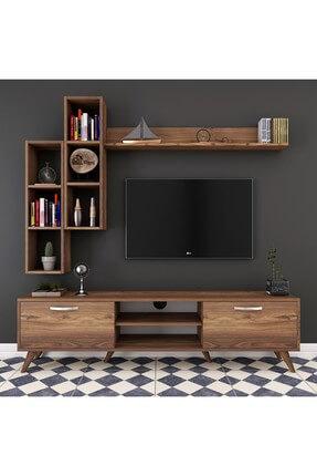 Rani Mobilya A9 Duvar Raflı Kitaplıklı Tv Ünitesi Duvara Monte Dolaplı Modern Ayaklı Tv Sehpası Ceviz M16