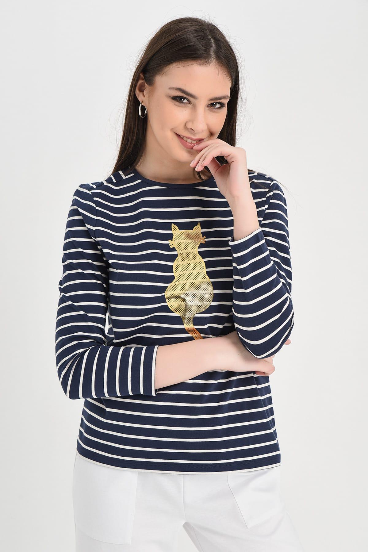 Hanna's by Hanna Darsa Kadın Lacivert-Beyaz Lacivert-Beyaz Çizgili Uzun Kollu Kedi Baskılı Bluz Hn1294 1