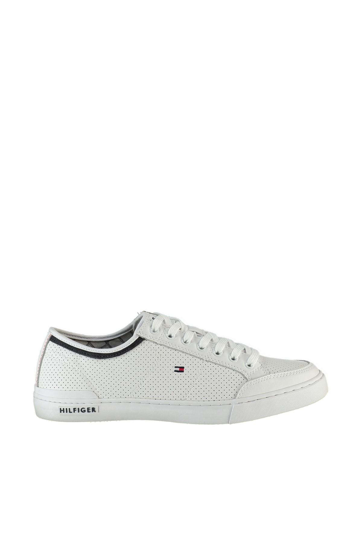 Tommy Hilfiger Erkek Beyaz Casual Ayakkabı Core Corporate Deri Sneaker FM0FM00552 1