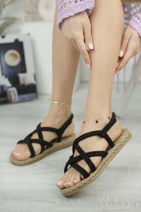 MUGGO Kadın Siyah Sandalet Mghasır01