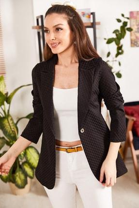 armonika Kadın Siyah Kabartma Desenli Tek Düğmeli Ceket ARM-21K001195