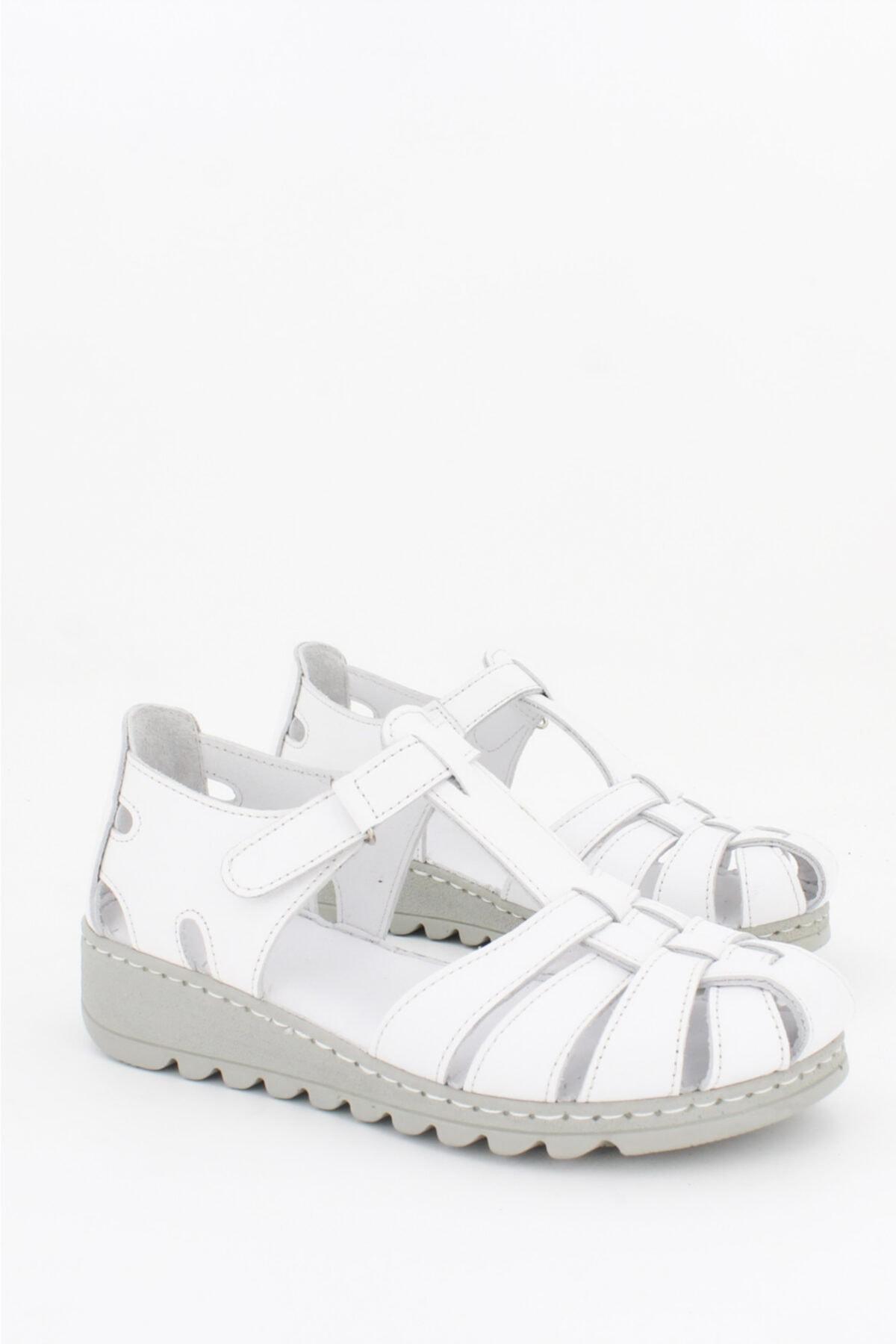 Deripabuc Hakiki Deri Beyaz Kadın Deri Sandalet CRZ-0546 1
