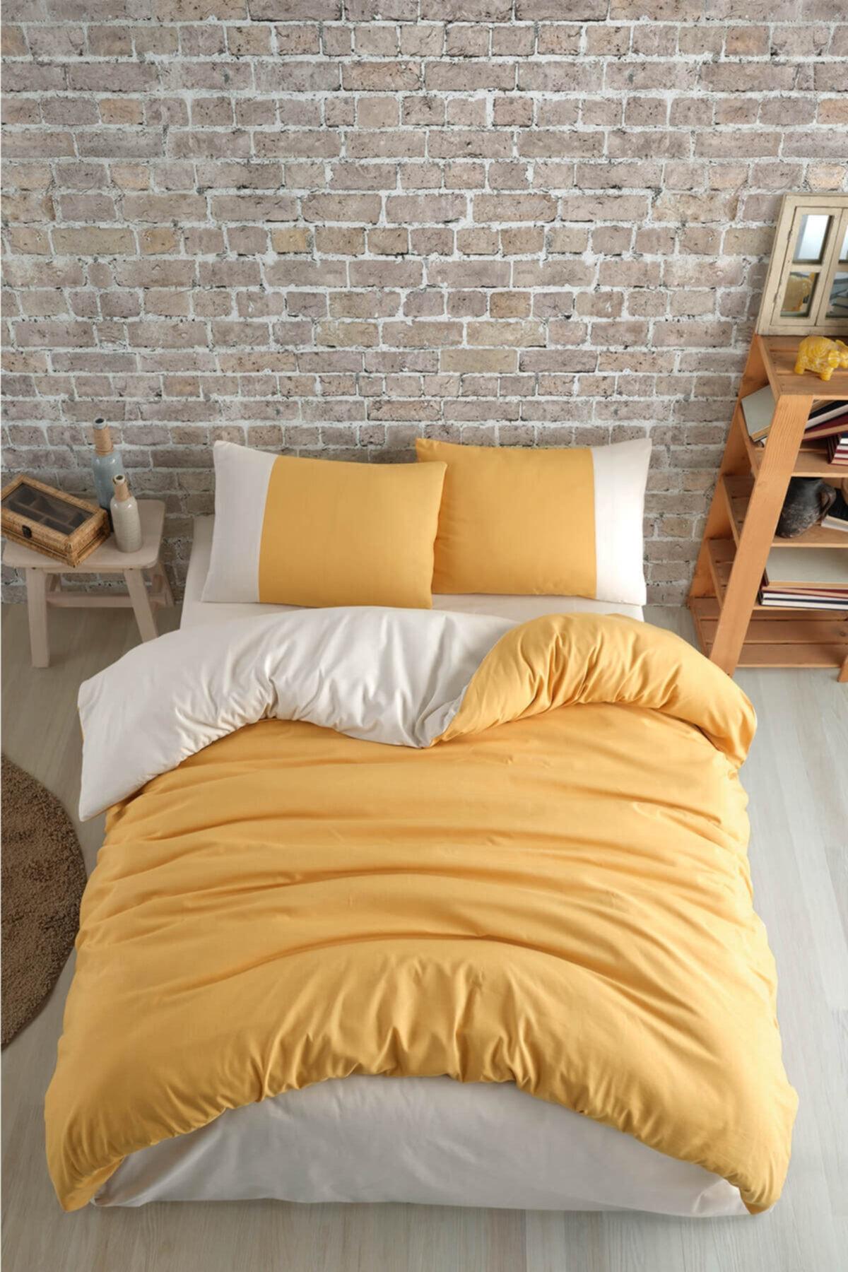 Cotton Touch Plain Series Çift Taraflı Sarı-krem Çift Kişilik Nevresim Takımı 2