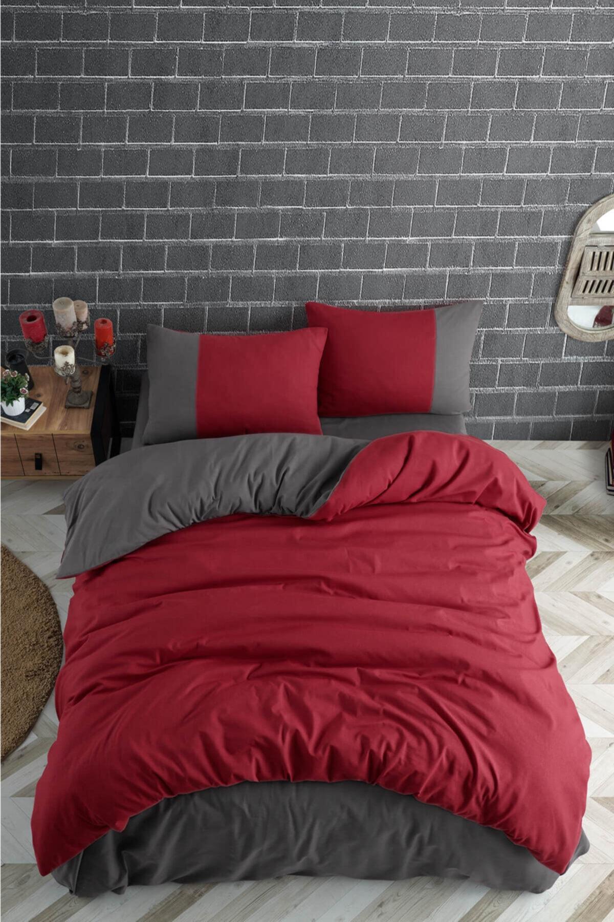 Cotton Touch Plain Series Çift Taraflı Kırmızı-antrasit Çift Kişilik Nevresim Takımı 2