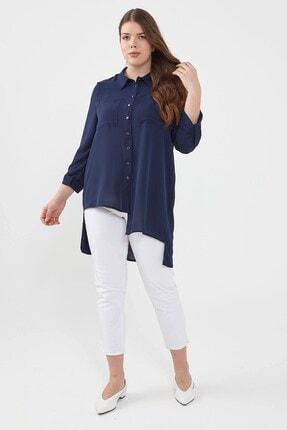 Nihan Kadın Büyük Beden Gömlek Lacivert