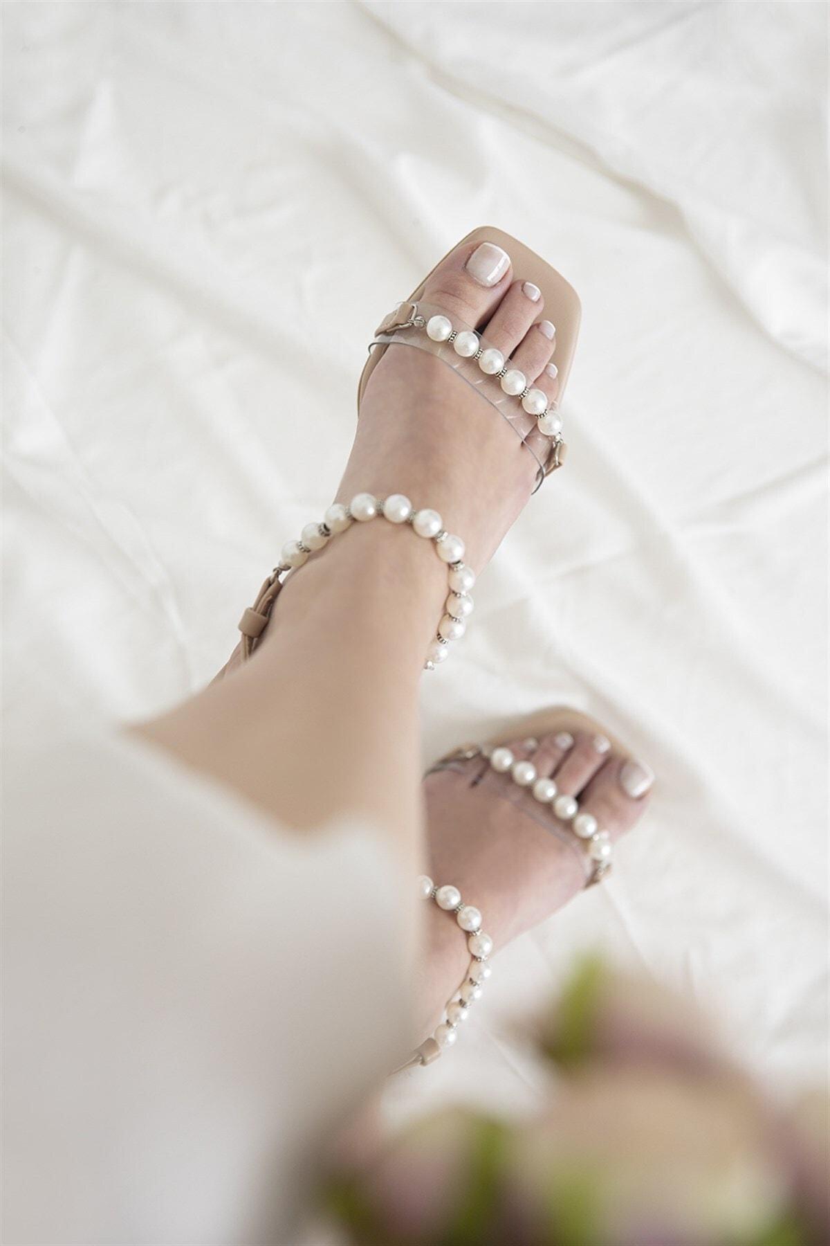 STRASWANS Helly Kadın Inci Detay Topuklu Ayakkabı Ten 2