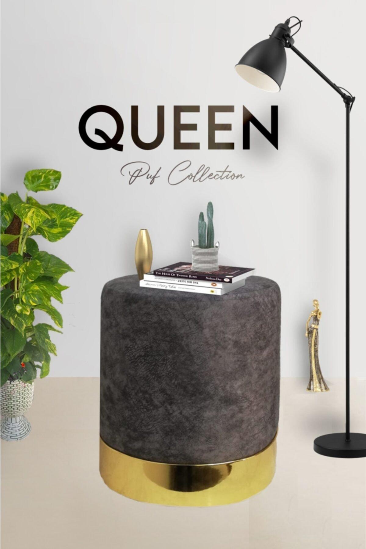 Zem Queen Grey - Gold Puf 1