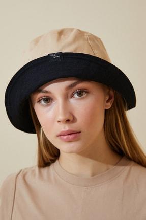 Happiness İst. Kadın Camel Siyah Çift Taraflı Bucket Şapka