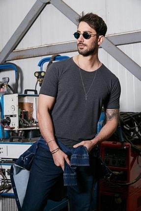 Sateen Men Erkek Antrasit B. Yaka Kısa Kol T-Shirt