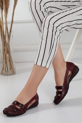 Dilimler Ayakkabı Kadın Bordo Tokalı Babet