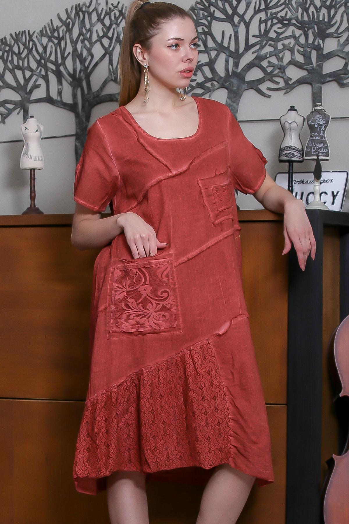 Chiccy Kadın Kiremit Sıfır Yaka Dantel Bloklu Cepli Astarlı Yıkamalı Elbise M10160000EL95294