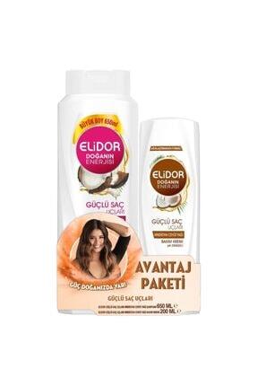 Elidor Hindistan Cevizi Güçlü Saç Uçları Şampuan 650 ml Ve Saç Kremi 200 ml