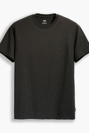 Levi's Erkek Siyah Logo Baskılı Bisiklet Yaka Pamuklu T Shirt