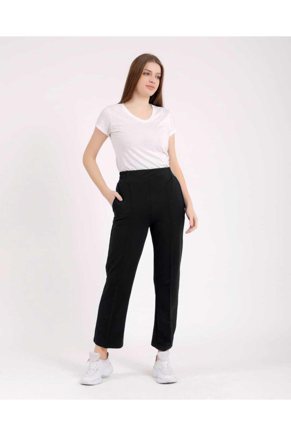 ZÜLEYHA NUR Kadın Siyah Likralı Beli Lastikli Trend Pantolon 2
