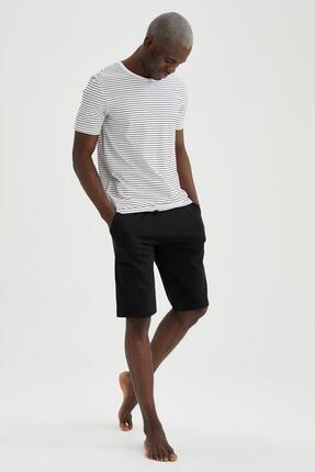 DeFacto Erkek Siyah Regular Fit Çizgili Pijama Takımı