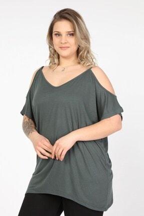 Womenice Kadın Yeşil Omuzları Açık Askılı Büyük Beden Bluz