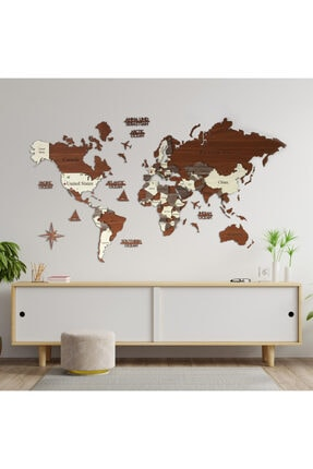 Colorfull Worlds 3 Boyutlu Ahşap Dünya Haritası, Ahşap Duvar Dekoru, Duvar Tablo, Gerçek Dünya Haritası,200 X 120 Cm