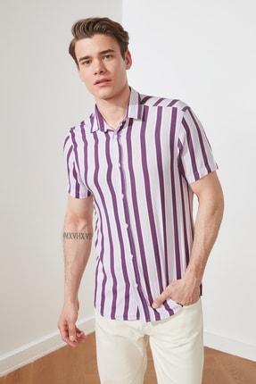 TRENDYOL MAN Lila Erkek Regular Fit Gömlek Yaka Kısa Kol Dökümlü Gömlek TMNSS20GO0571